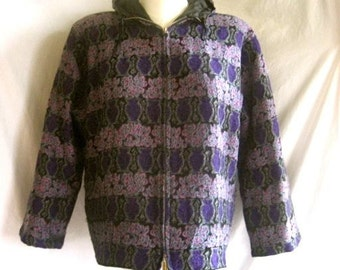 Womens Vintage Saks Fifth Ave Wool Jacket Hooded Lined Zippered Purple Lavender 50s 60s
