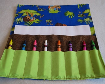 Crayon roll Diego print fabric crayon holder crayon case crayon wallet stocking stuffer