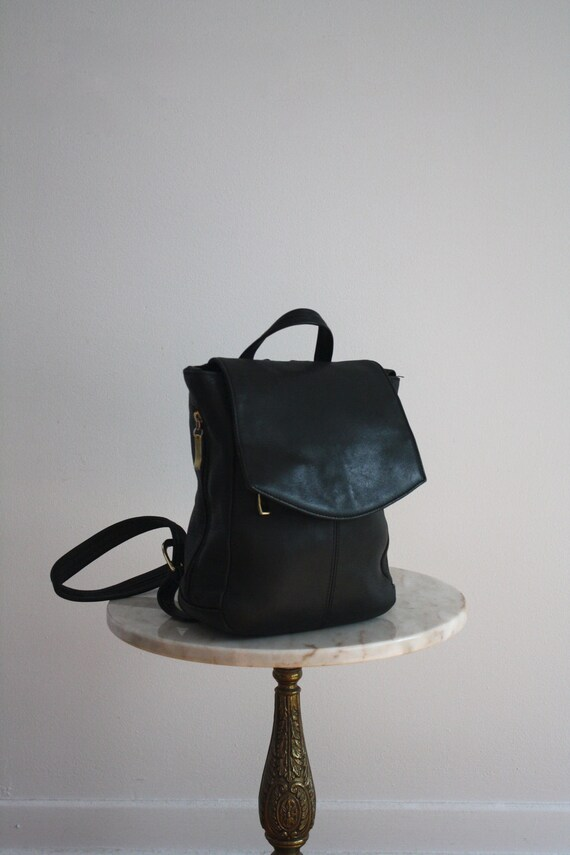 Leather Backpack Bag - Black & Silver SOFT - 1980s VINTAGE