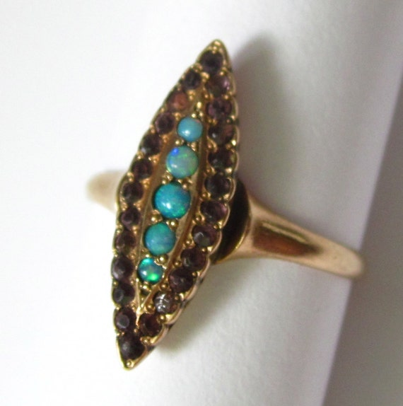 Antique Victorian Opal and Amethyst Marquise Ring