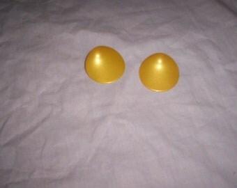 vintage clip on earrings yellow metal