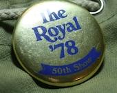 1978 Royal Ontario Winter Fair 50th Show Gold Pin Back Button 70s 78 Toronto Canada Horse Equestrian ROWF