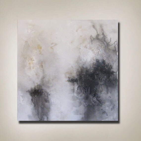 "30"" x 30"" Abstract Painting Black, White, Gold"