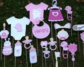 Photo booth props: pink  baby shower     20pc set
