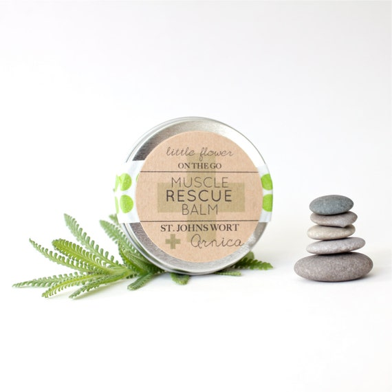 Healing Salve Muscle Rescue Balm 1 ounce tin all natural icy hot massage balm Arnica & St. Johns Wort salve travel tin bath and beauty body