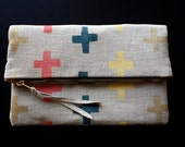Linen Foldover Clutch - Blockprinted 'Plus - Brights'