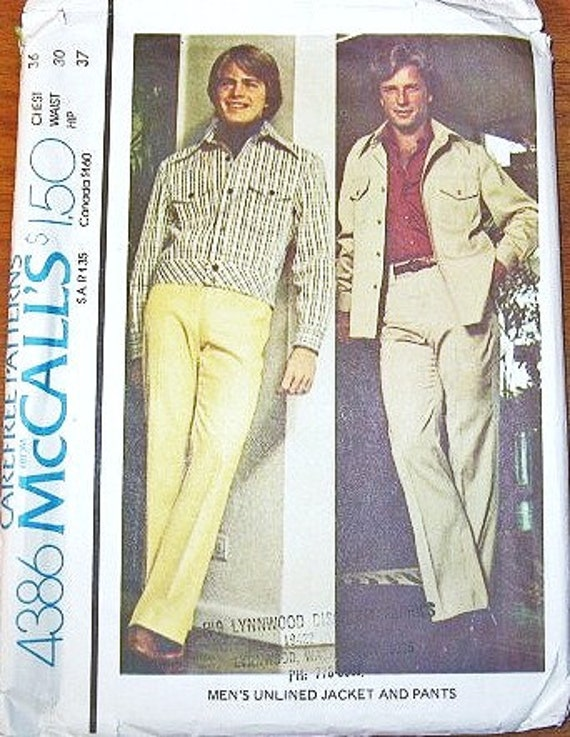 Men's Western Style Yoked Jacket in Two Lengths, and Flared Leg Pants - Vintage 1970s McCall's Sewing Pattern 4386 - Chest 36 / Waist 30