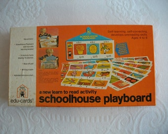 1975 Schoolhouse Playboard Learn To Read by Edu-Cards for Children, Paper Ephemera, Board Game