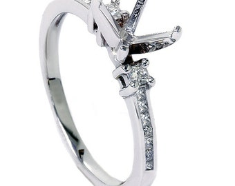 Princess Cut 1/2CT Diamond Engagement Ring Semi Mount Setting Mounting Channel Set 14K White Gold Size 4-9