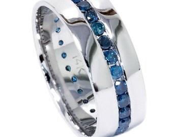 Blue Diamond Ring Mens Wedding 125CT Channel Set
