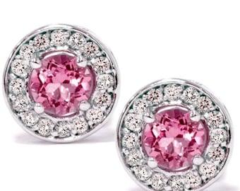 Halo Diamond Genuine Round Pink Sapphire Studs  .70CT Diamond Genuine Round Pink Sapphire Studs 14K White Gold
