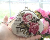 handmade Metal Frame Coin Pouch : beautiful Linen cotton fabric featuring roses and gardening newspaper