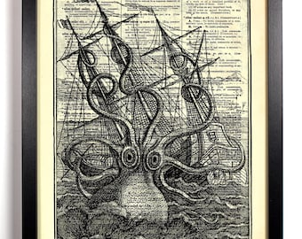 Monsterous Octopus, Home, Kitchen, Nursery, Bath, Office Decor, Wedding Gift, Eco Friendly Book Art, Vintage Dictionary Print 8 x 10 in.