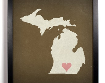 State Love Michigan, Home, Kitchen, Nursery, Bath, Dorm, Office Decor, Wedding Gift, Housewarming Gift, Unique Holiday Gift, Wall Poster