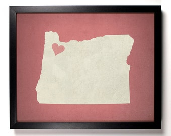State Love Oregon, Home, Kitchen, Nursery, Bath, Dorm, Office Decor, Wedding Gift, Housewarming Gift, Unique Holiday Gift, Wall Poster