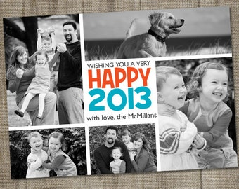 Happy New Year Collage Multi Photo Printable Holiday Photo Card