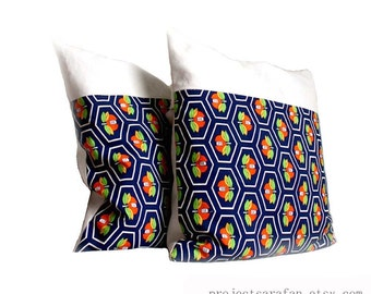 Blue Orange Decorative Pillows for Sofa / Modern Accent Cushions. Stylised Print Kimono Throw Cushion Cover. 20x20'' (50cm). Custom Sizes