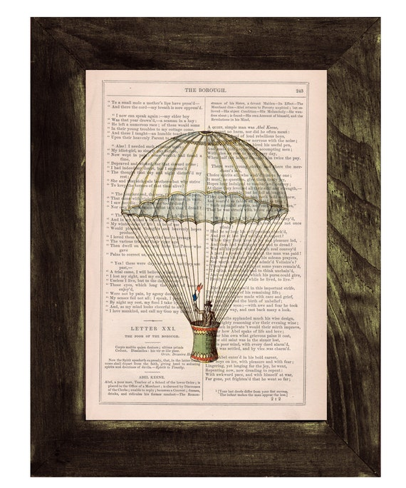 Spring Sale Book print Hot air Balloon classic style Print on Vintage Book - mixed media art BPTV046