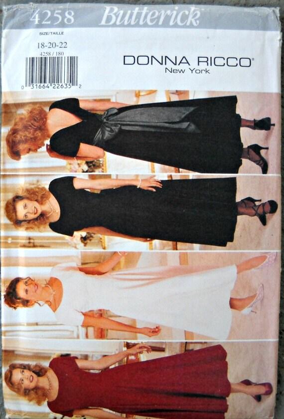 Butterick 4258, Donna Ricco New York, Misses Dress Pattern, Sizes 18, 20, 22