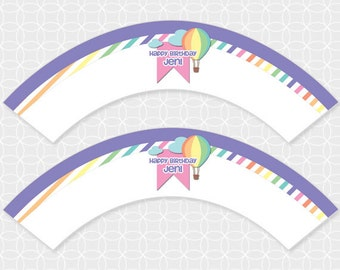 Party Printable Up Up and Away Theme Cupcake Wrappers - Personalized Printable - air balloon, heart, balloon, sky, girl