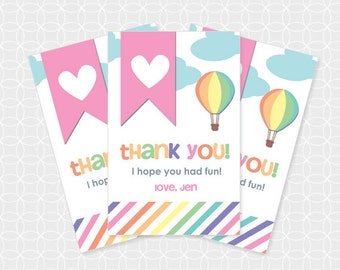 Air Balloon Party Thank You Tags, Printable file, Personalized, hot air balloon