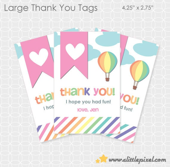 Party Printable Air Balloon Up Up and Away Party Thank You Tags - Personalized Printable - air balloon, heart, balloon, sky, girl