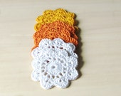 Candy corn coasters / halloween garland or embellishment / white orange and yellow / set of 6