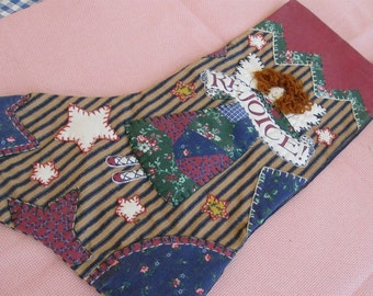 Christmas Stocking, Linnen look Fabric,  Applique, Stitchery and crewel work. This was a Shop Model