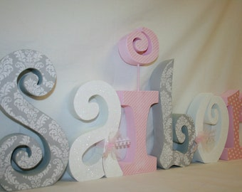 Nursery letters, Baby girl wooden letters, 6 letter set, Pink and gray damask, Room decor, Wooden letters, Baby name letters, Wood letters