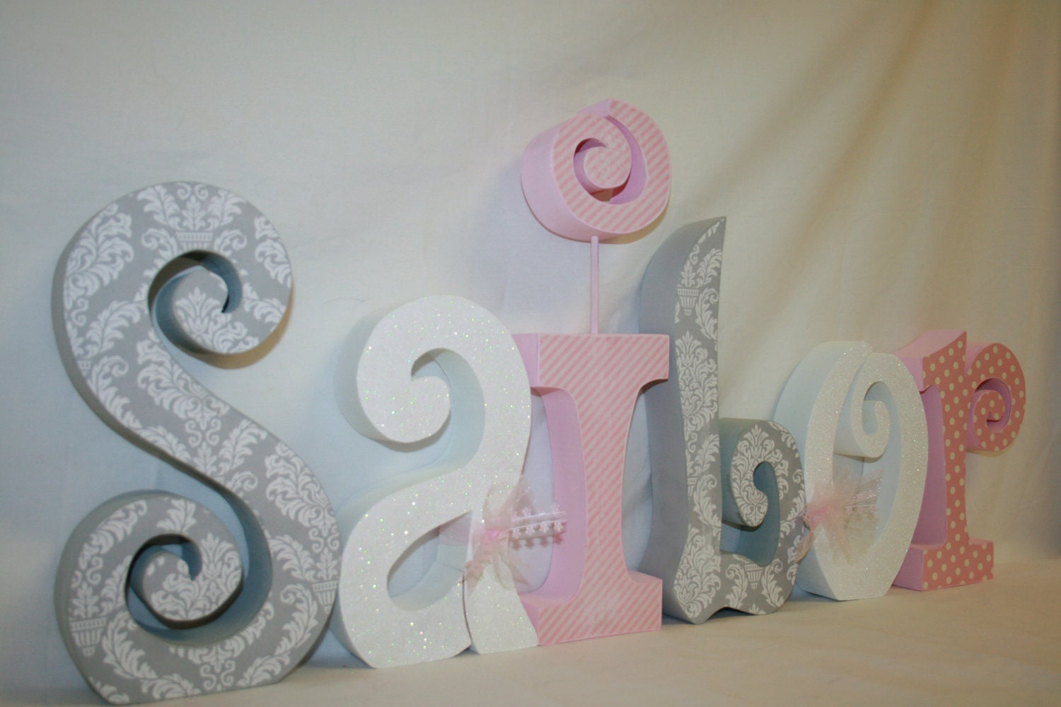 Nursery letters baby girl wooden letters 6 letter set pink for Baby name decoration