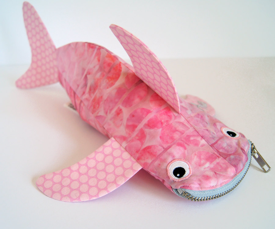Shark pencil case by minnebites pink bag fish bag pink for Fish pencil case