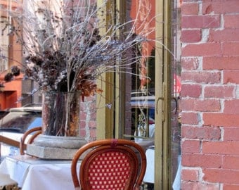 New York Photography, Little Italy, Cafe, Street Scene, FPOE, Dining, Nature, Rustic, Boho Chic, Brick, Red, Orange, Gray