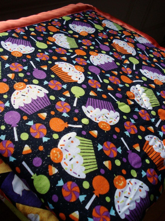 Cupcakes and Candy Halloween Cozy - Reversible Pet Blanket