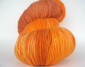 PUMPKIN Hand Dyed Yarn Merino Sock Weight Orange - spinningmulefibers