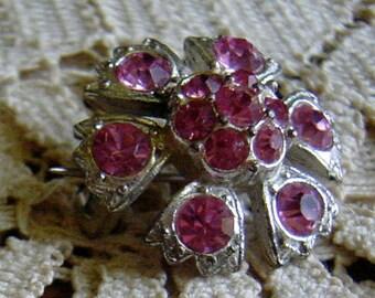 Vintage 1940s Pink Rhinestone Flower Brooch