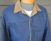 vintage 70's - 80's Men's Ranch jacket by Wrangler. 'New Old Stock'. 10 Oz. Denim - Corduroy collar - Faux fur lining. Size 42