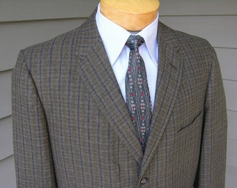 vintage early 1960's Men's Flannel sport coat by Capps Clothes. Micro plaid in Olive & Gray tones. Size 42 Long