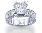 """White/Yellow Gold 14k With 2.52 carat D/SI1 """"Snow Fountain Princess"""" Dazzling Pave Set Princess Cut Engagement Ring"""