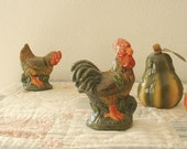 RESERVED for BECKY...Chicken & Rooster collectible set. Porcelain. Hand painted. Free shipping