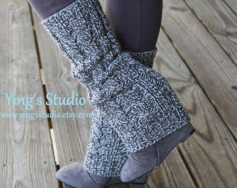 HandKnit Leg Warmers - Boot Cover - Long Leg Warmers - 100% Wool - Cabled - Dark Grey Marle - Marled Gray - Woman - Girly - Winter Accessory
