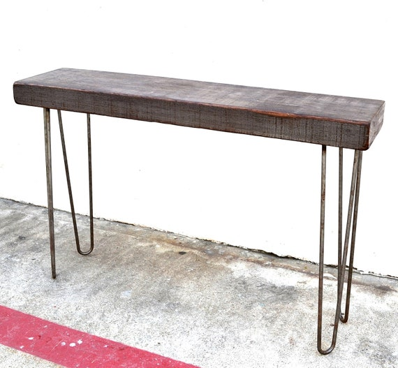 "Console Table 48"" Salvaged Wood Industrial Factory Beam On Hairpin Legs"