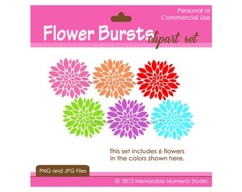 INSTANT DOWNLOAD - Digital Clip Art set - 6 Flower Bursts - Personal and Commercial Use