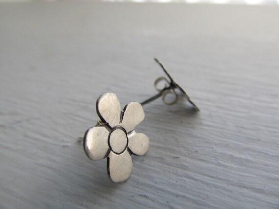 Reserved for sfg- Little Flower posts - hand cut sterling silver metalwork flower earrings