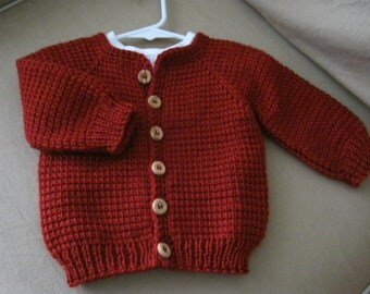 Crochet Red Baby Boy or Girl Sweater - Tunisian Crochet - MADE TO ORDER - Handmade