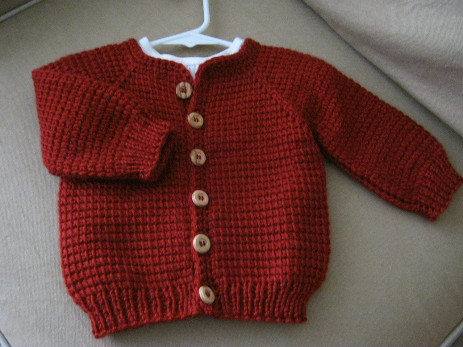 Crochet Red Baby Boy or Girl Sweater Tunisian Crochet MADE