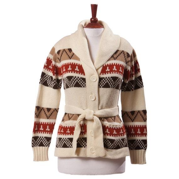 1960s Ski Sweater/ Cardigan / Nordic Sweater