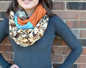 Orange, Blue, and Brown Muli-Fabric Infinity Scarf: jersey, Batik