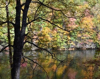 Reflections of Fall - Photograph -   fall mountain lake photo