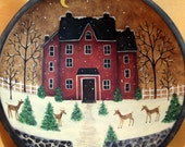 Winter Folk Art Hand Painted Primitive Wooden Bowl - MADE TO ORDER - Deer playing in moonlit snow-covered front yard of red saltbox house