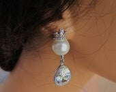 Pearl with crown bridal earrings, pear drop cut cubic zirconia sterling silver ear posts - BE109